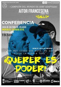 """Conferencia del Campeón del Mundo de SURF adaptado """"Querer es Poder"""""""